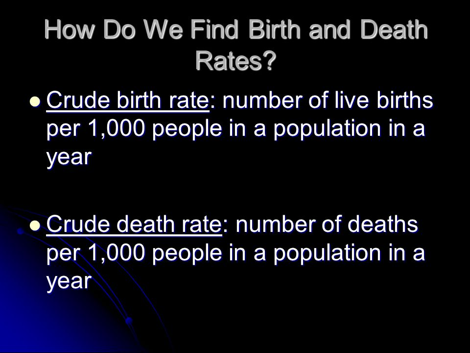 How Do We Find Birth and Death Rates