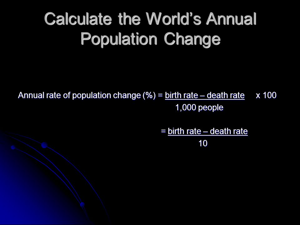 Calculate the World's Annual Population Change