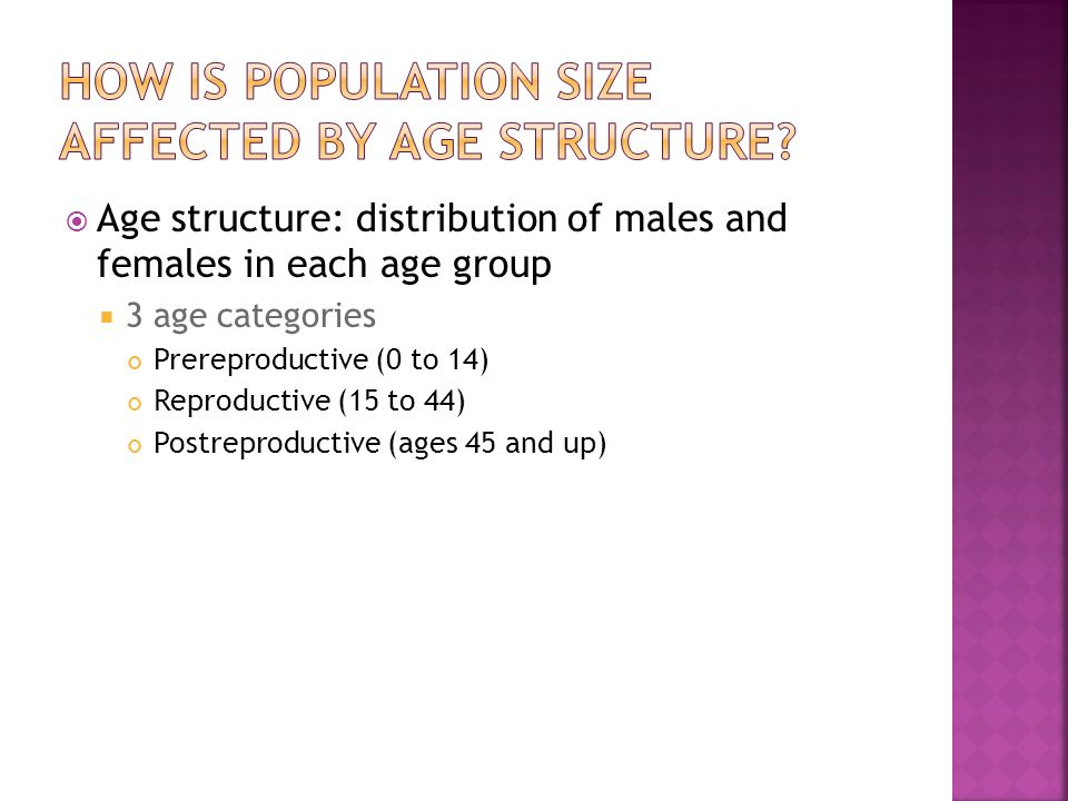 How is population size affected by age structure