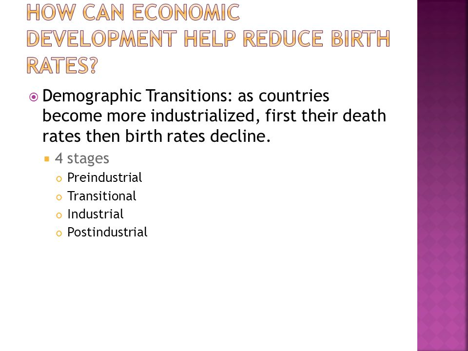 How can economic development help reduce birth rates
