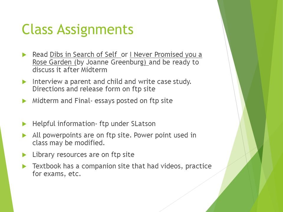 counseling children and adolescents ppt video online  class assignments dibs in search of self or i never promised you a rose garden