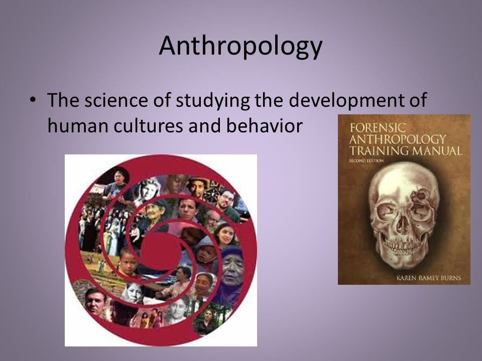 Anthropology The science of studying the development of human cultures and behavior