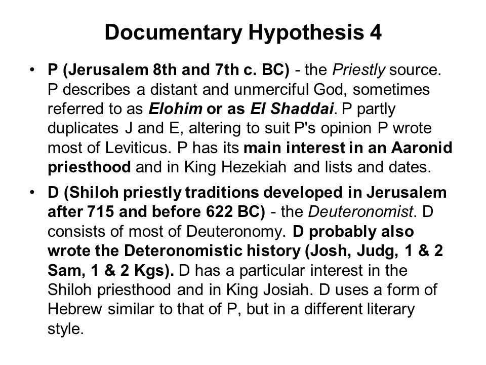 Documentary Hypothesis 4