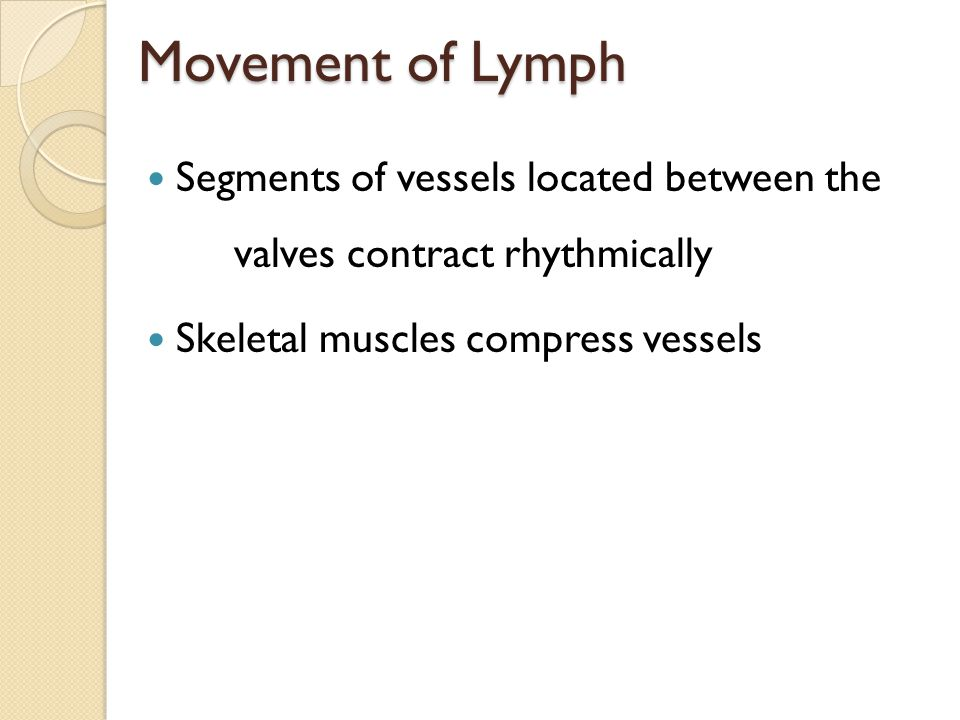 Movement of Lymph Segments of vessels located between the valves contract rhythmically.