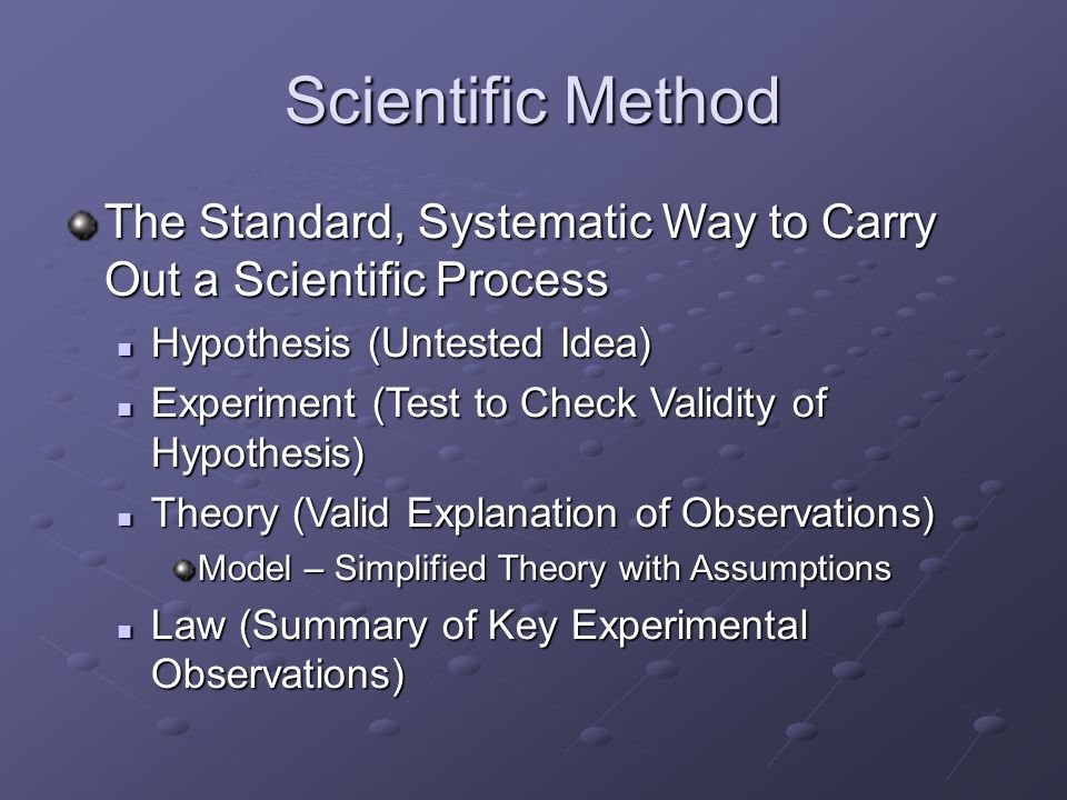 Scientific Method The Standard, Systematic Way to Carry Out a Scientific Process. Hypothesis (Untested Idea)‏