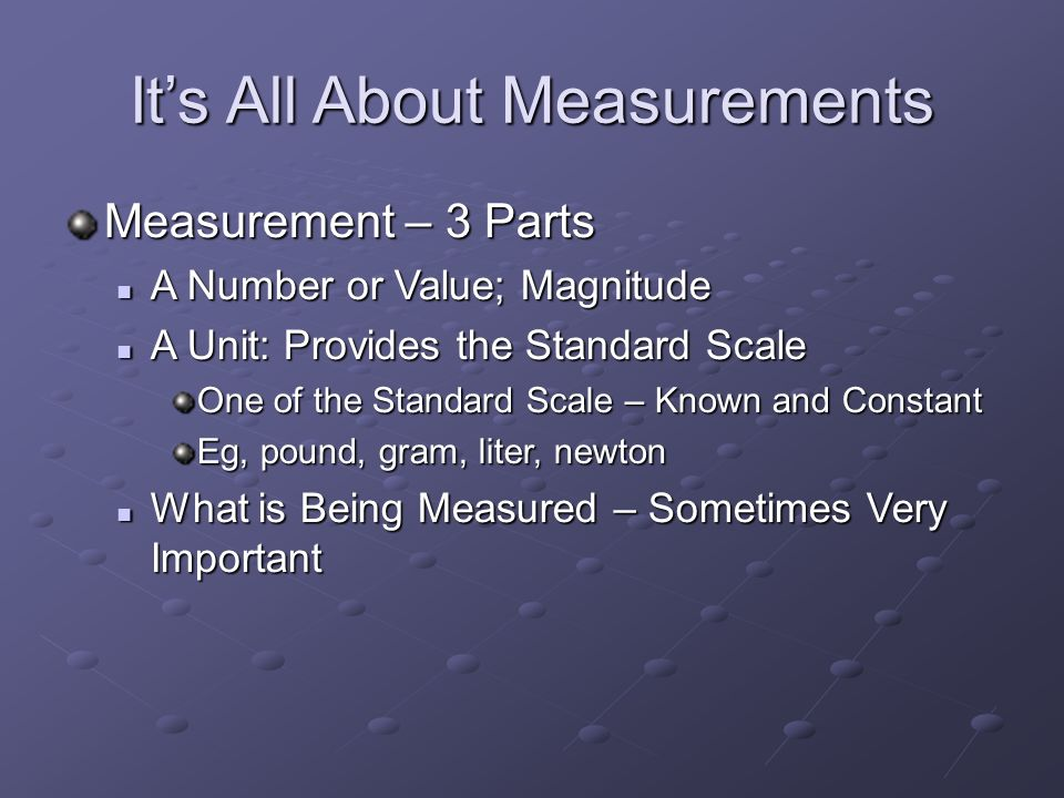 It's All About Measurements