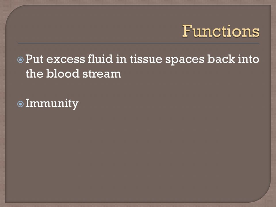 Functions Put excess fluid in tissue spaces back into the blood stream