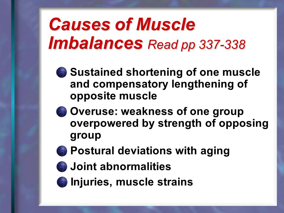 Causes of Muscle Imbalances Read pp