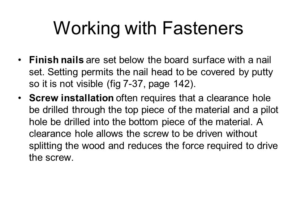 Working with Fasteners