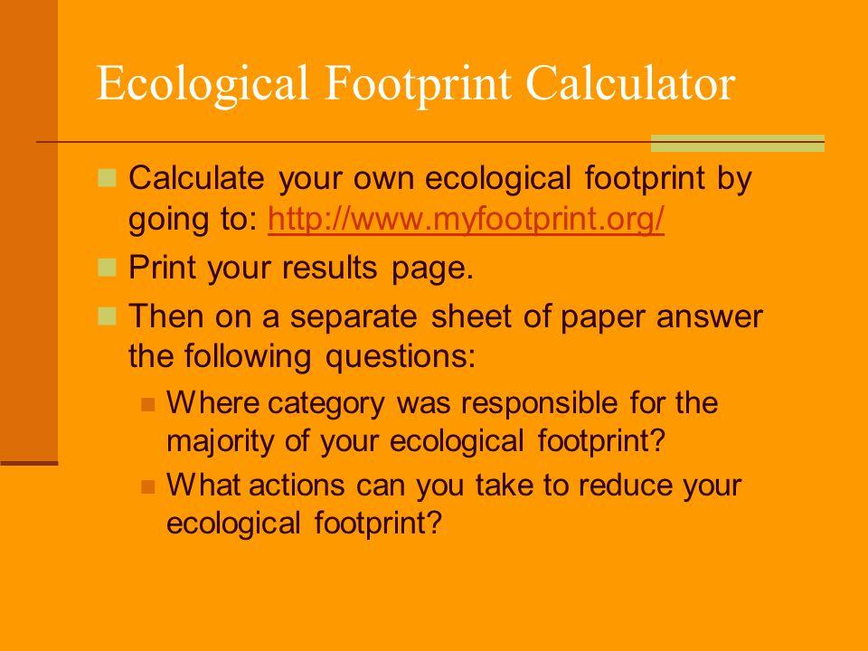 ecological footprint calculator worksheet the large and most comprehensive worksheets. Black Bedroom Furniture Sets. Home Design Ideas