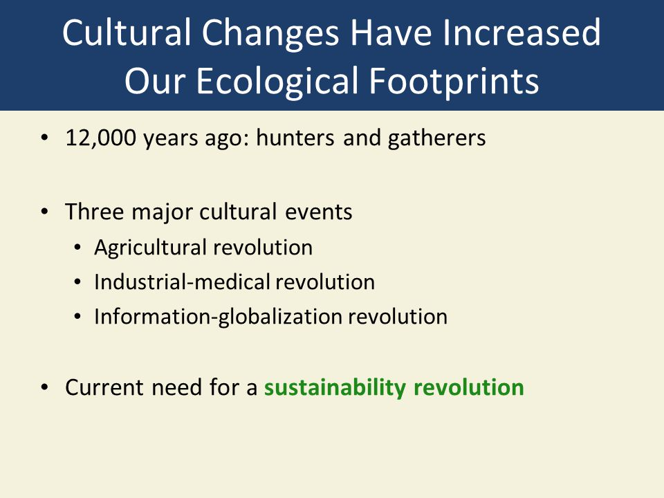 Cultural Changes Have Increased Our Ecological Footprints