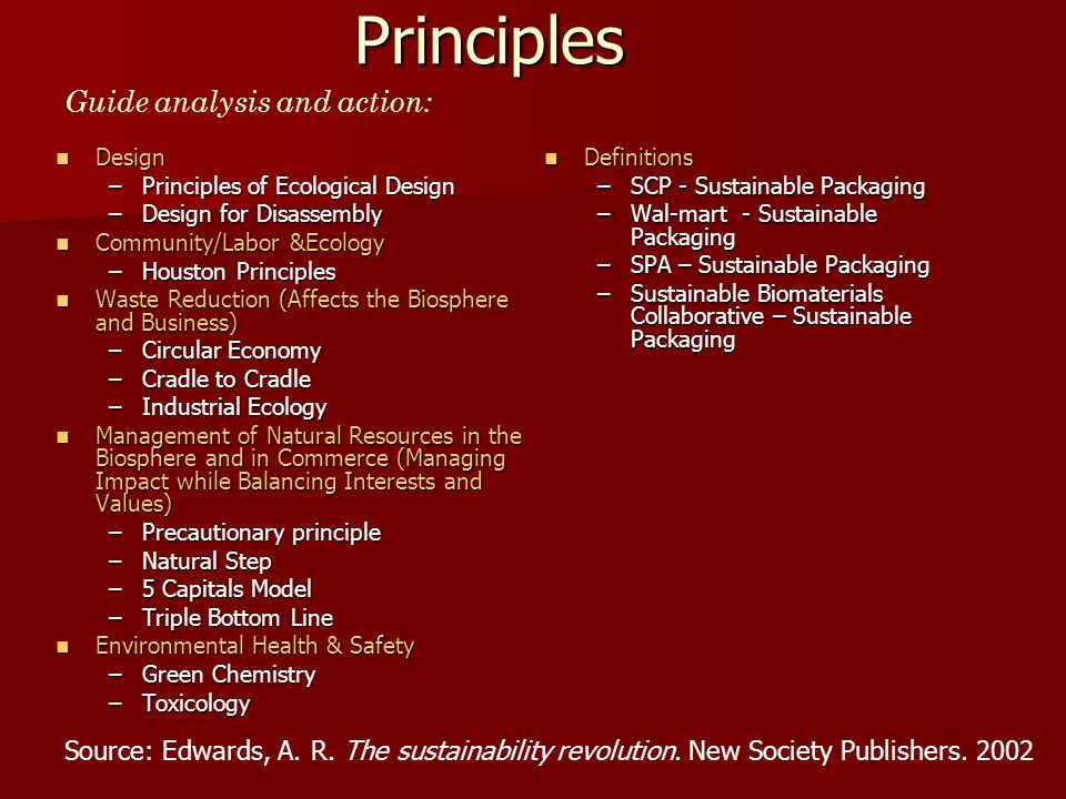 Principles Of Design List : Sustainable manufacturing systems analysis