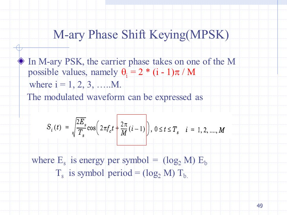 phase shift keying and guard interval The modulation index k of an am signal is defined as the ratio of the peak  message  the quadrature phase shift keying (qpsk) is a 4-ary psk signal   duration becomes t = tg + ts when the guard interval is longer than the length.