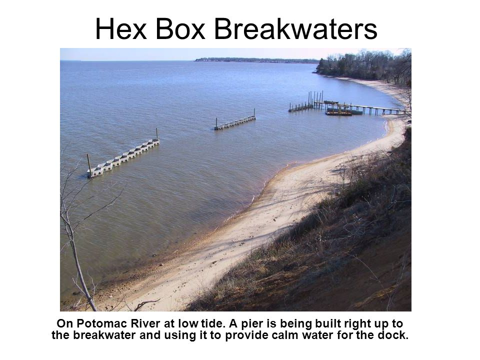 Hex Box Breakwaters On Potomac River at low tide.