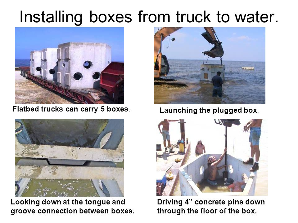Installing boxes from truck to water.