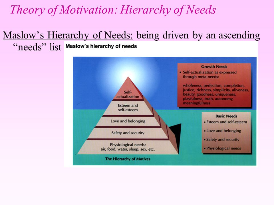 needs hierarchy theory of motivation Maslow's hierarchy of needs theory of motivation shows that human beings have a hierarchy of five needs and satisfying one will create a need for other.