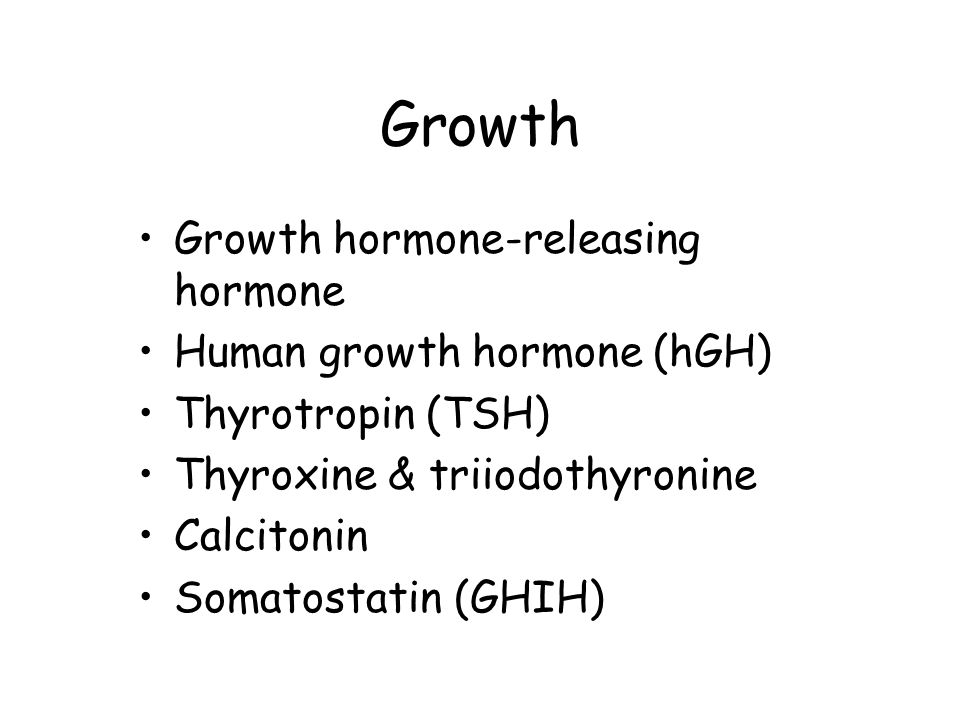 Growth Growth hormone-releasing hormone Human growth hormone (hGH)