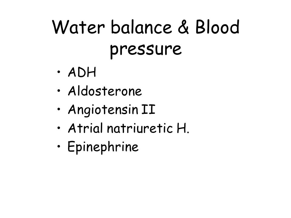 Water balance & Blood pressure