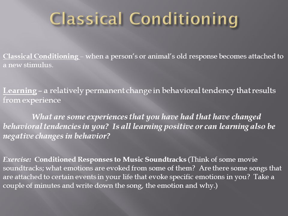 """classical conditioning paper Classical conditioning paper chelsea hansen, ma classical conditioning or if you will """"pavlovian conditioning"""" was produced by ivan pavlov he was a russian physician most familiar with the digestive system, but made a breakthrough in psychology for his theory on instinct based learning."""