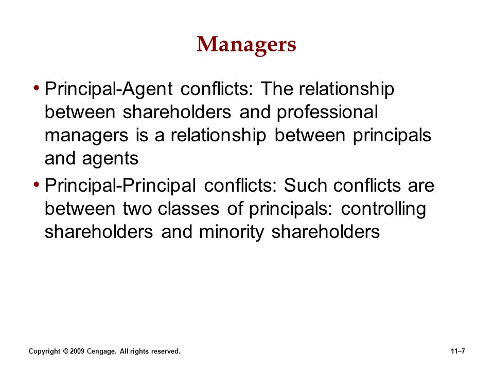 agent principal conflict essay This essay discusses agency theory and agency costs, why agency costs exist   agency theory is concerned with the consequences of conflicts of interest within a   in the value of the firm due to the presence of a principal-agent relationship.