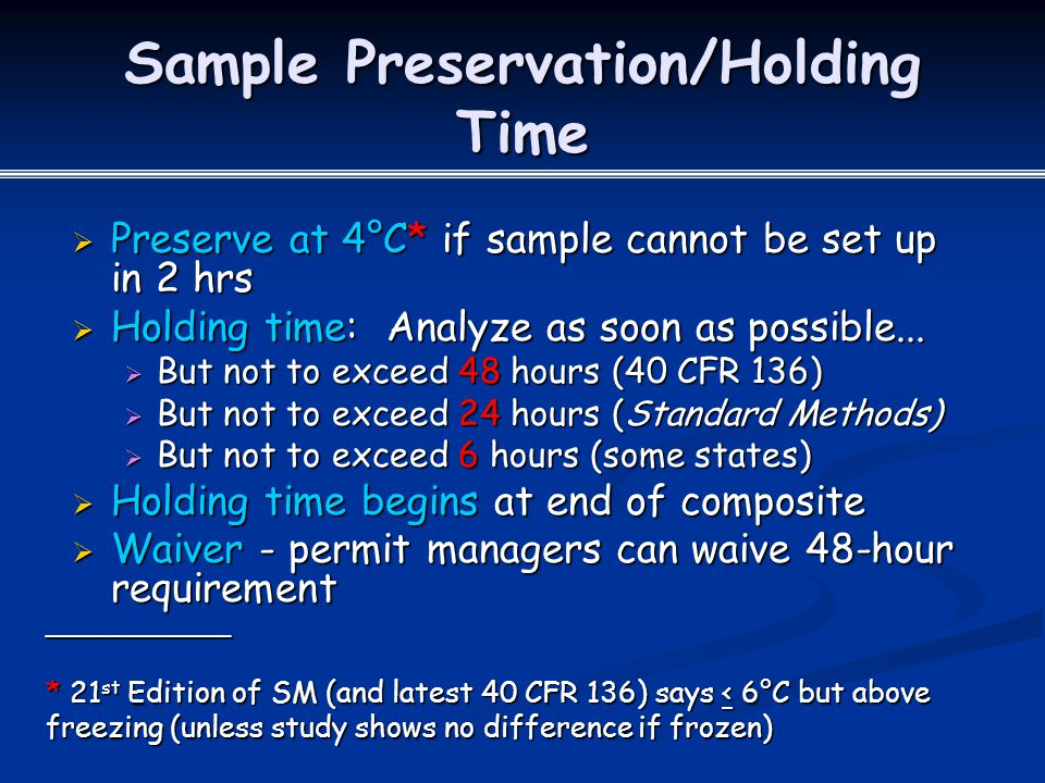 Sample Preservation/Holding Time
