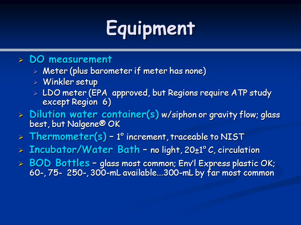 Equipment DO measurement