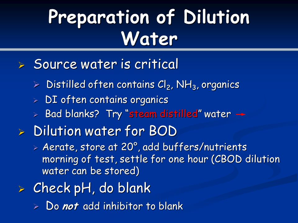 Preparation of Dilution Water