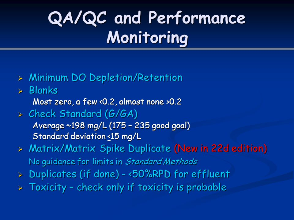 QA/QC and Performance Monitoring
