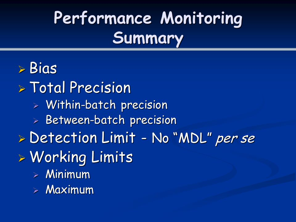 Performance Monitoring Summary