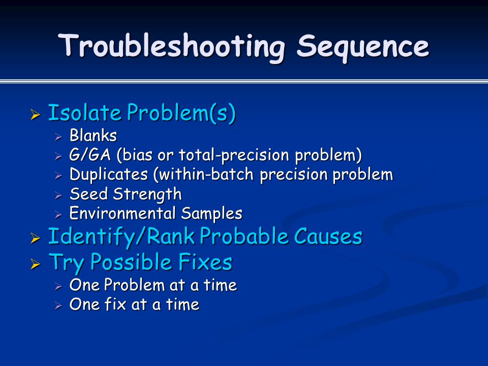 Troubleshooting Sequence