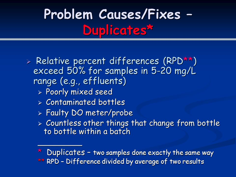 Problem Causes/Fixes – Duplicates*