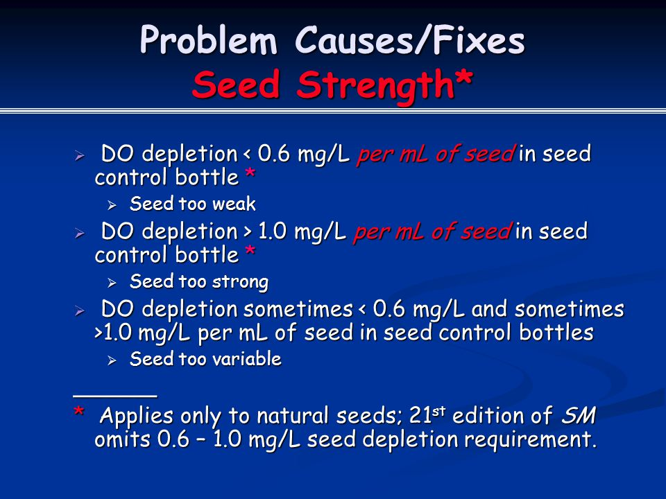 Problem Causes/Fixes Seed Strength*