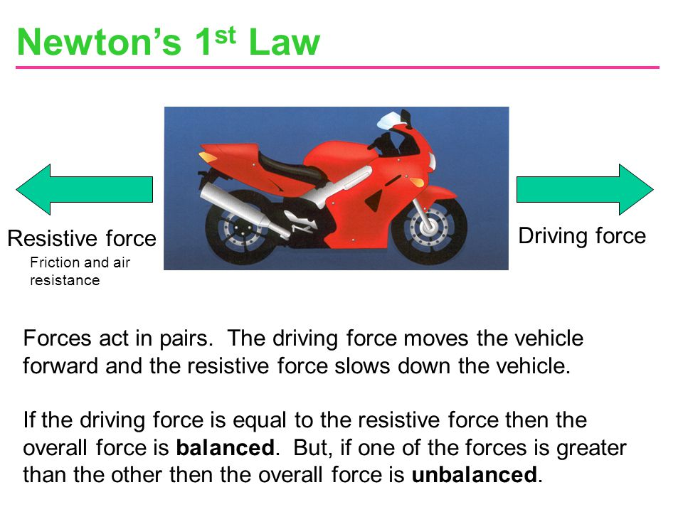 Newton's 1st Law Driving force Resistive force