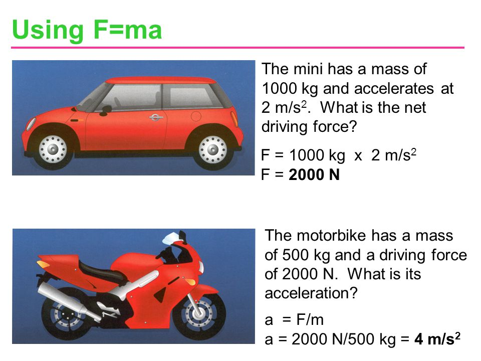 Using F=ma The mini has a mass of 1000 kg and accelerates at 2 m/s2. What is the net driving force