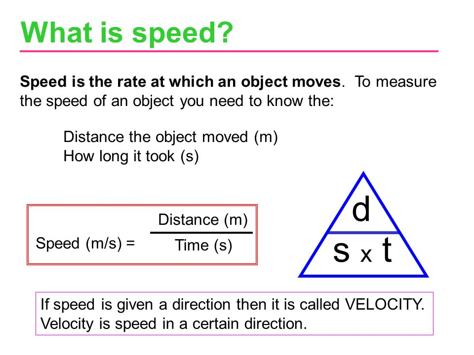 What is speed Speed is the rate at which an object moves. To measure the speed of an object you need to know the: