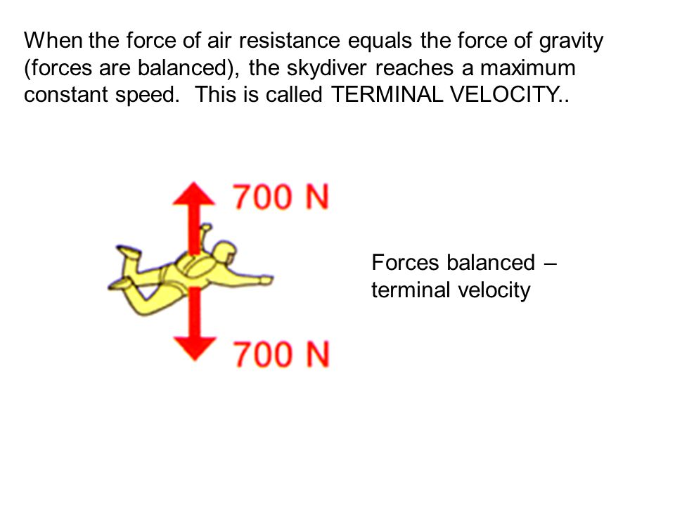 When the force of air resistance equals the force of gravity (forces are balanced), the skydiver reaches a maximum constant speed. This is called TERMINAL VELOCITY..