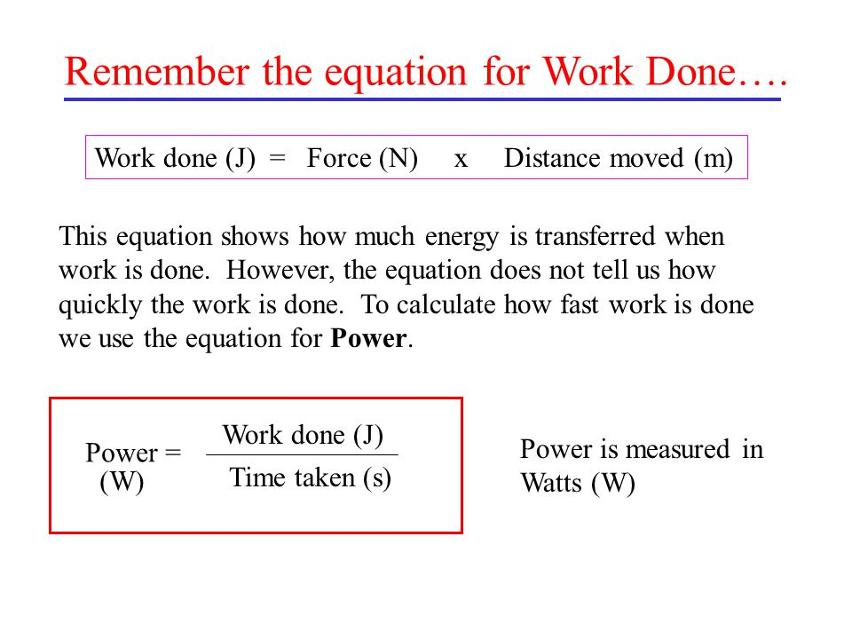 Remember the equation for Work Done….