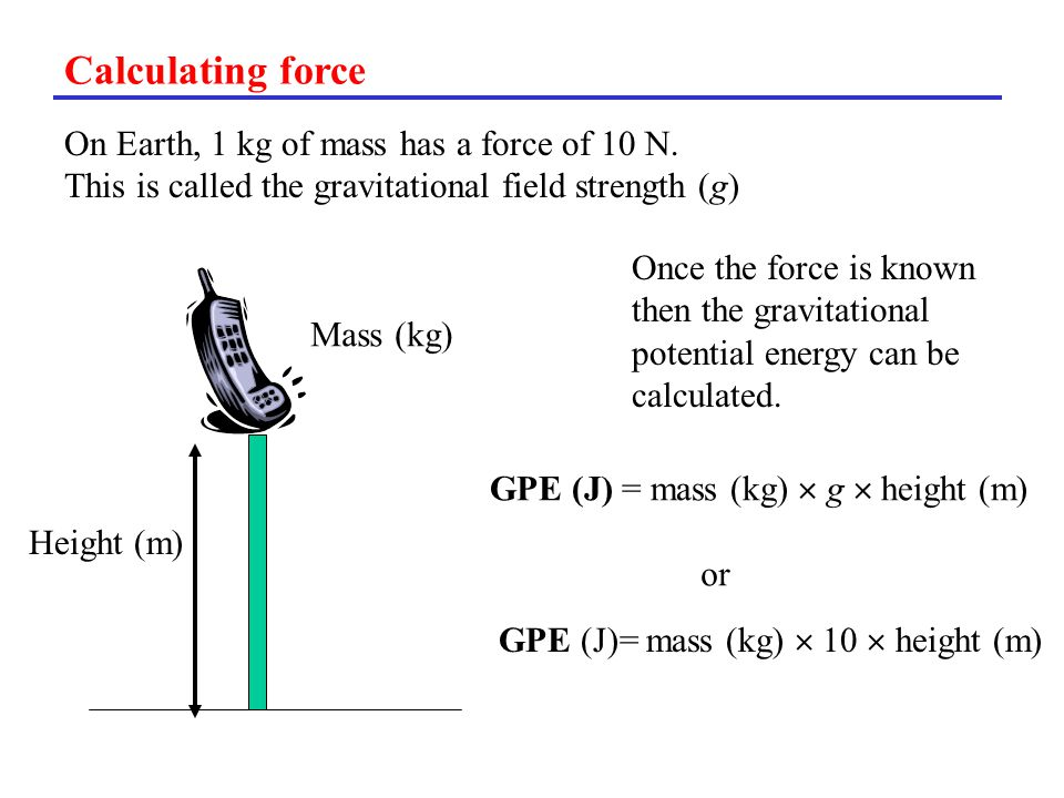 Calculating force On Earth, 1 kg of mass has a force of 10 N.