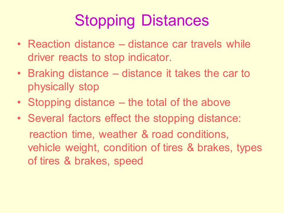 what affects the stopping distance of a vehicle essay How does kinetic energy affect the stopping distance of a vehicle traveling at 30 mph compared to the same vehicle traveling at 60 mph.