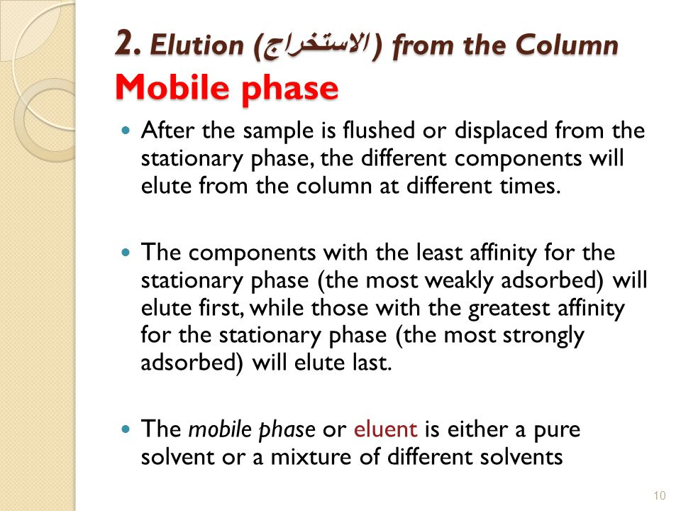 2. Elution (الاستخراج ) from the Column Mobile phase