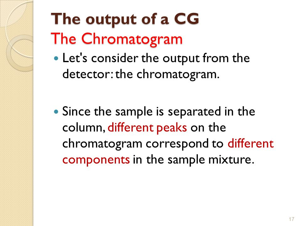 The output of a CG The Chromatogram