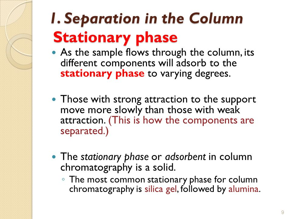 1. Separation in the Column Stationary phase