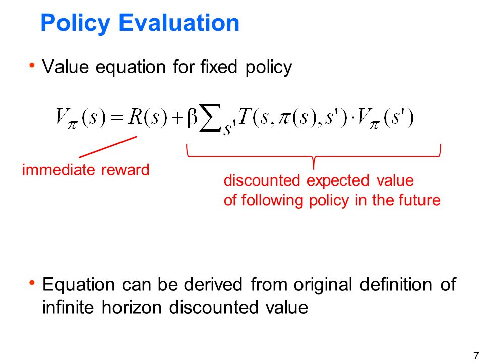 Policy Evaluation Value equation for fixed policy