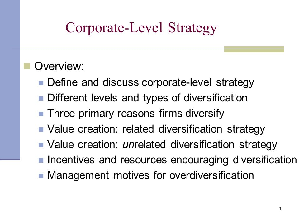 Corporate strategy relatedness and diversification