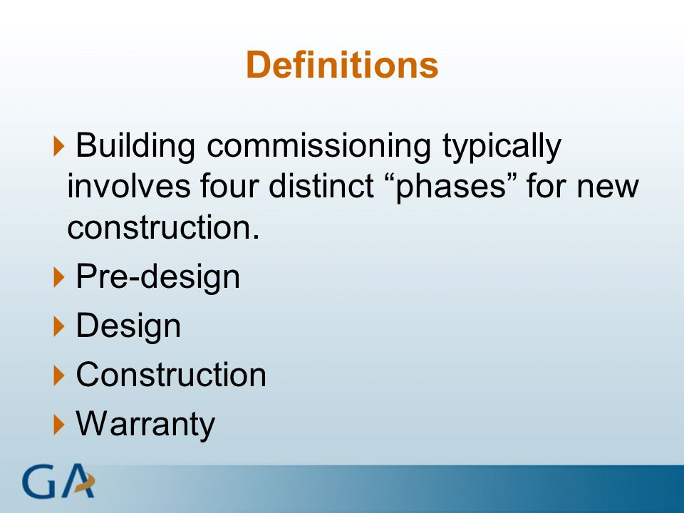 Building commissioning ppt download for Definition construction