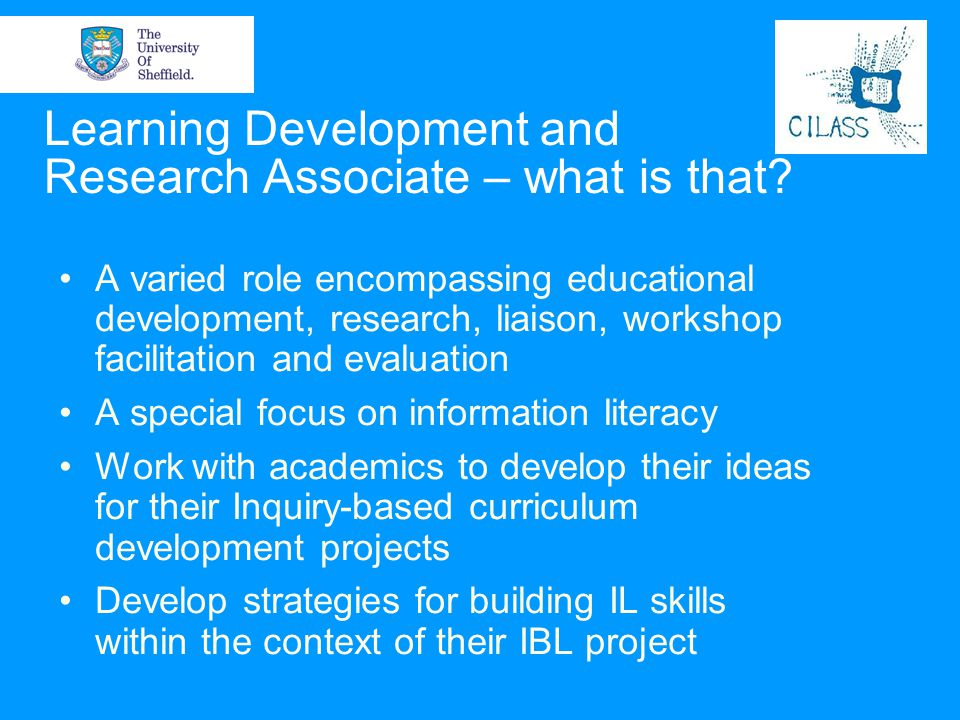 Learning Development and Research Associate – what is that
