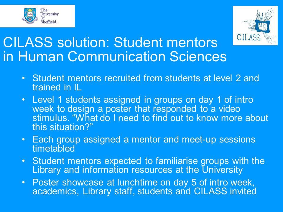 CILASS solution: Student mentors in Human Communication Sciences