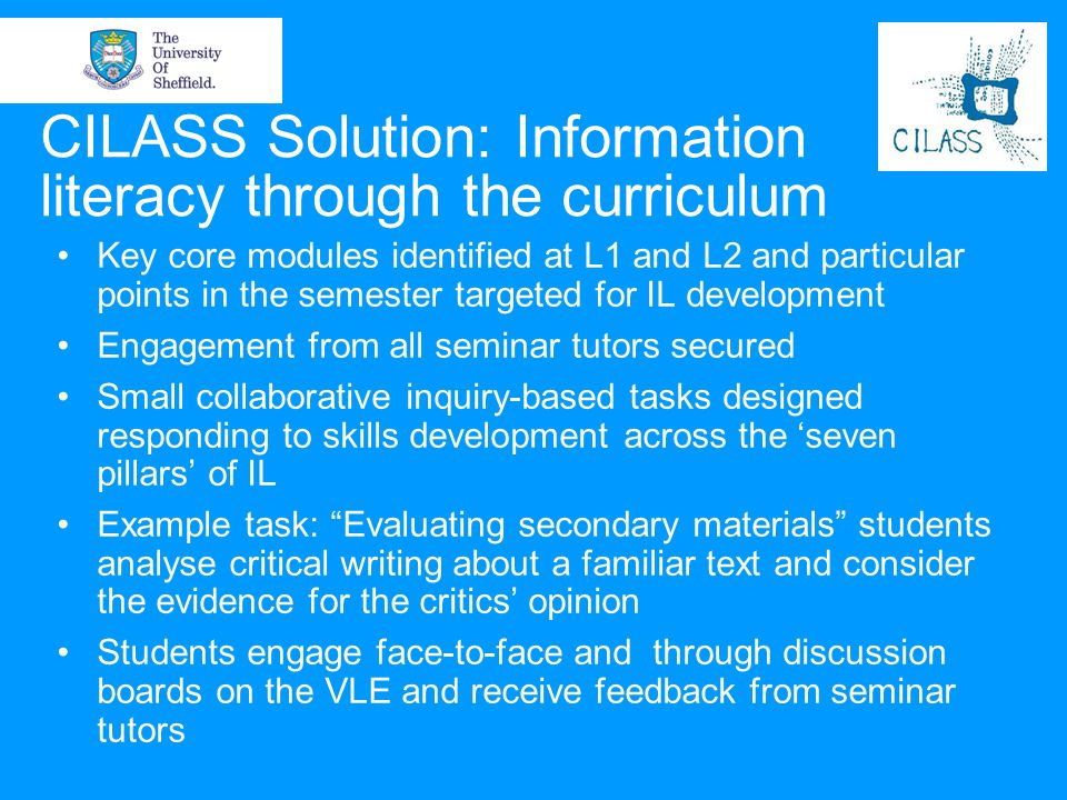 CILASS Solution: Information literacy through the curriculum