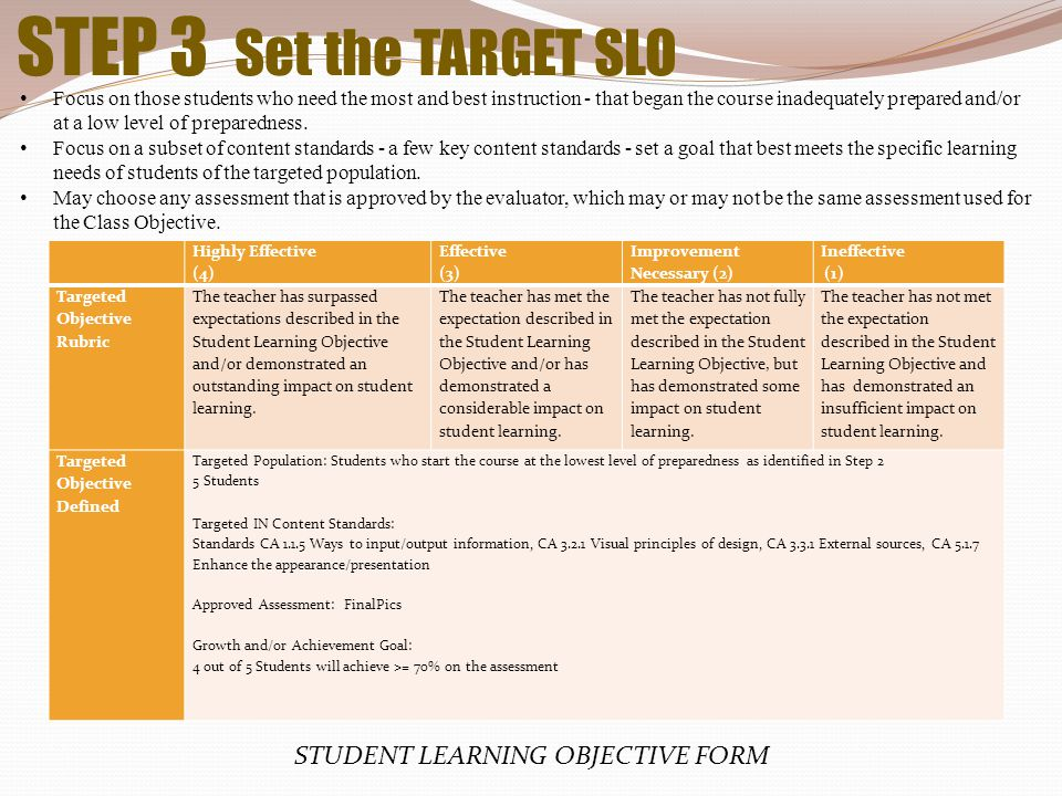 STUDENT LEARNING OBJECTIVE FORM