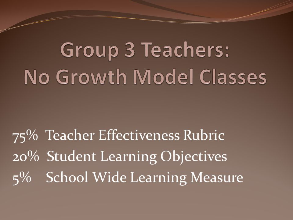 Group 3 Teachers: No Growth Model Classes